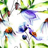 Nahtlose Tapete mit blauen Blumen Stockfoto