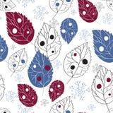 Nahtlose Tapete mit Blättern und Schnee Lizenzfreies Stockfoto