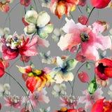 Nahtlose Tapete mit Blumen Stockbild
