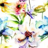 Nahtlose Tapete mit bunten Frühlingsblumen Stockfoto