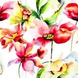 Nahtlose Tapete mit bunten Frühlingsblumen Stockbild