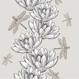 Nahtlose Tapete mit den Seerosen und Libellen, hand--drawi Stockfoto