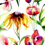 Nahtlose Tapete mit Frühlingsblumen Lizenzfreie Stockfotografie