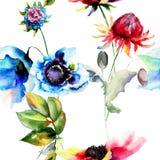 Nahtlose Tapete mit Frühlingsblumen Lizenzfreie Stockfotos