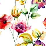 Nahtlose Tapete mit Frühlingsblumen Lizenzfreies Stockfoto