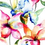 Nahtlose Tapete mit Lilien- und Irisblumen Stockfoto