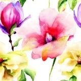 Nahtlose Tapete mit Lilien- und Magnolienblumen Stockfoto