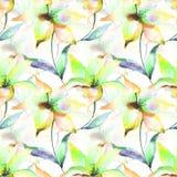 Nahtlose Tapete mit Lilienblumen Lizenzfreies Stockfoto