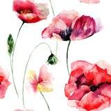 Nahtlose Tapete mit Mohnblumenblumen Stockfotos