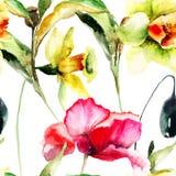 Nahtlose Tapete mit Narzissen- und Mohnblumenblumen Stockbilder