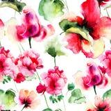 Nahtlose Tapete mit Pelargonien- und Rosen-Blumen Lizenzfreie Stockfotos