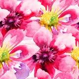 Nahtlose Tapete mit rosa Blumen Stockfotos