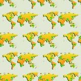 Nahtlose Tapete mit Weltkarte stockbilder