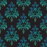 Nahtlose Tapeten des Aquarells im Stil des Barocks auf schwarzem Hintergrund Auch im corel abgehobenen Betrag Lizenzfreies Stockbild