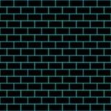 Nahtlose/Tileable-Schwarzbacksteinmauer Umrissen in Cyan-blauem vektor abbildung