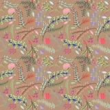 Nahtlose Tileable-Weinlese-Blumenhintergrund-Muster Lizenzfreie Stockfotografie