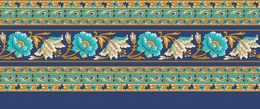 Nahtlose traditionelle indische mit Blumengrenze vektor abbildung