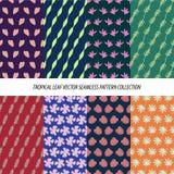 Nahtlose tropische Blatt-Blumenvektor-Muster-Hintergrund-Tapeten-Design Lizenzfreies Stockbild