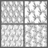 Nahtlose tropische Schwarzweiss-Blatt-Blumenvektor-Muster-Hintergrund-Tapeten-Design Stockbild