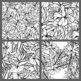 Nahtlose tropische Schwarzweiss-Blatt-Blumenvektor-Muster-Hintergrund-Tapeten-Design Lizenzfreie Stockbilder