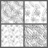 Nahtlose tropische Schwarzweiss-Blatt-Blumenvektor-Muster-Hintergrund-Tapeten-Design Stockfotografie