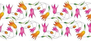Nahtlose Tulpenblumengrenze lizenzfreie abbildung