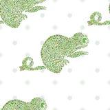 Nahtlose Vektorillustration des Chamäleons Stockbilder