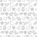 Nahtlose Vektormuster mit Früchten Schwarzweiss-Hintergrund mit Erdbeere, Banane, Apfel, Birne, Wassermelone und Kirsche Lizenzfreies Stockfoto