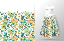Nahtlose vertikale Fantasie blüht Grenzmuster Blumenhintergrund des Handabgehobenen betrages auf Kleidermodell Vektor traditionel Lizenzfreie Stockfotos