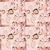 Nahtlose verwickelte Kreise kopieren Rosa und die hellbraune Bedeckung Lizenzfreie Stockfotografie