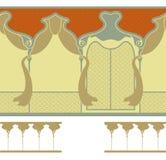 Nahtlose Verzierung im Band mit dem Bild der Bauelemente Gewölbte Fenster oder Loggia mit Vorhängen Lizenzfreies Stockfoto
