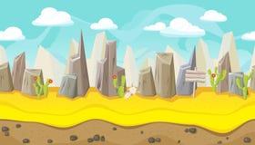 Nahtlose Wüstenlandschaft mit Bergen für Spieldesign Lizenzfreie Stockfotografie