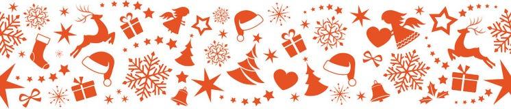 Nahtlose Weihnachtsgrenze mit Verzierungen, Schneeflocken und Sternen Stockbild