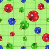Nahtlose Weihnachtskugeln mit grünem Hintergrund Stockfotografie