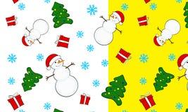 Nahtlose Weihnachtsmusterschneemänner Lizenzfreies Stockfoto