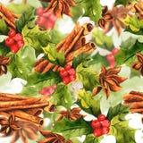 Nahtlose Weihnachtsstechpalme mit Zimt Stockfotografie