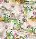 Nahtloser abstrakter Naturhintergrundpfau mit rosafarbener Blume stock abbildung