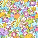 Nahtloser abstrakter Vektorgekritzelhintergrund, Sommerkarikaturtapete Komisches Muster Antidruckmalbuchseite für Stockfotografie