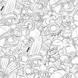 Nahtloser abstrakter Vektorgekritzelhintergrund, Sommerkarikaturtapete Komisches Muster Antidruckmalbuchseite für Stockfotos