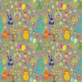Nahtloser alles Gute zum Geburtstagkarikaturhintergrund Stockbilder