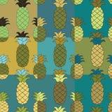 Nahtloser Ananasmustersatz Gedämpfte Palette Vektorillustration Stockfotografie