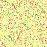 Nahtloser Apfel- und Birnenhintergrund, Muster Lizenzfreie Stockbilder
