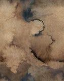 Nahtloser Aquarell-Kaffee-Farbwasser-Papier-Hintergrund Abstrakte braune Rasterillustration Stockbilder