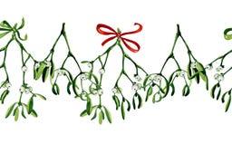 Nahtloser Aquarell Weihnachtshintergrund mit Mistelzweig und rotem Band Stockbild