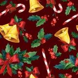 Nahtloser Aquarell Weihnachtshintergrund mit Stechpalme Stockbilder