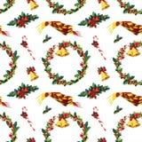 Nahtloser Aquarell Weihnachtshintergrund mit Stechpalme Lizenzfreies Stockfoto