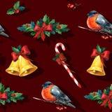 Nahtloser Aquarell Weihnachtshintergrund mit Stechpalme Lizenzfreie Stockfotos
