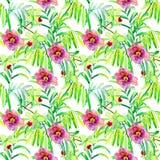 Nahtloser Aquarellhintergrund Blumen Lizenzfreies Stockbild