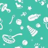 Nahtloser Babyhintergrund mit verschiedenen Gegenständen Lizenzfreie Stockfotos