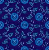 Nahtloser blauer chinesischer Blumenhintergrund Stockbild